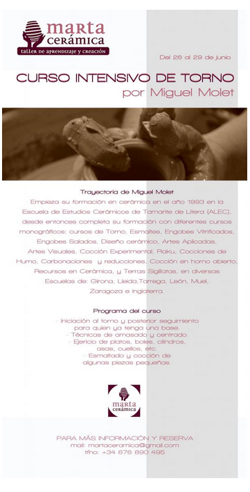 Extremadura artesana curso de torno de miguel molet for Curso de ceramica madrid